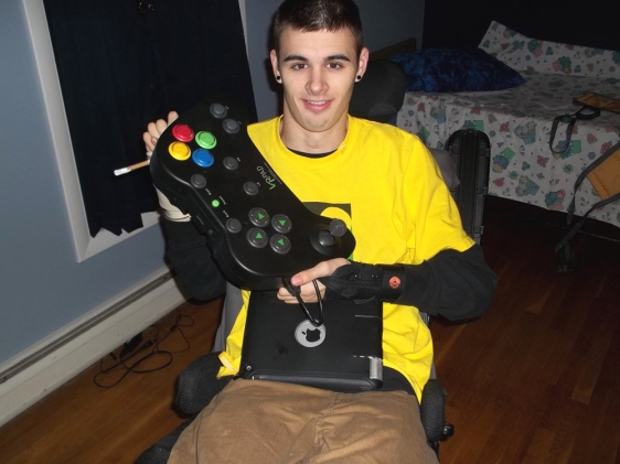 David with his new video game controller